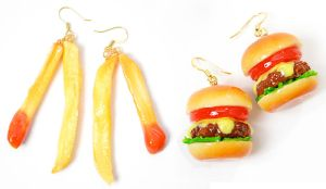 Fake Food Hatanaka Burger Schmuck Ohrring Pommes Schmuck Moschino