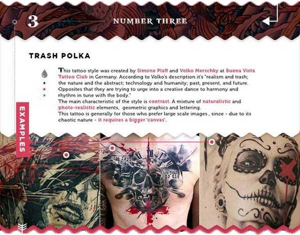 tätowierungen welche stile trash polka verrückt schwarz und rot grafisch tattoo chief