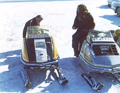 Vintage ski-doo snowmobiles