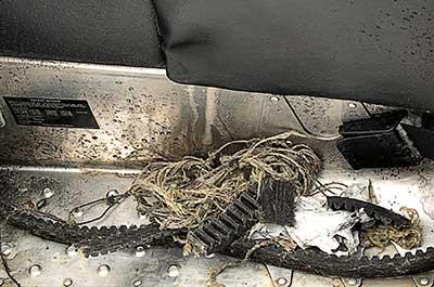 blown snowmobile belt is damaged beyond use