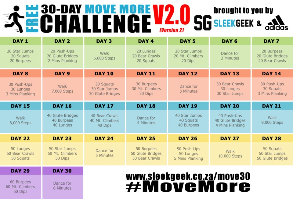 Sleekgeek 30-Day Move More Challenge powered by adidas calendar