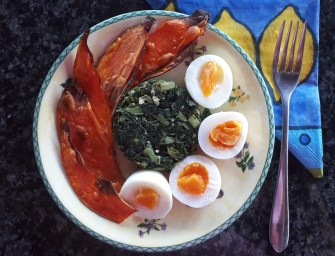 [Recipe] Boiled Eggs, Spinach, and Sweet Potato Toast