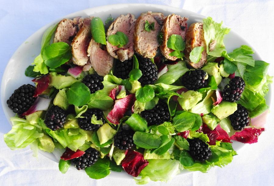 Blackberry avo salad with seared tuna
