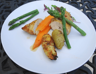 [Recipe] Lemon and herb chicken breast with asparagus, sweet potato and carrot