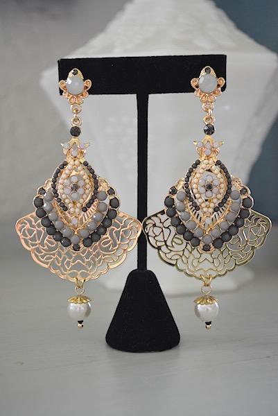 Gold Drop Earrings, Chandelier Earrings, Grey Beaded Jewelry, Gold Filigree Earrings