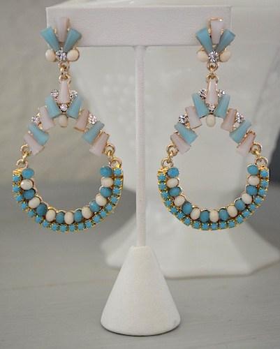 Blue and White Earrings, Teardrop Earrings, Pool Blue, Blue and White Jewelry