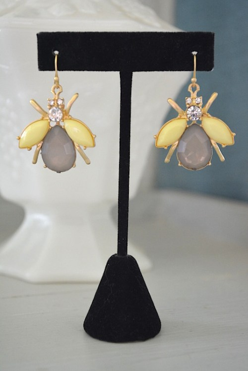 grey earrings, yellow earrings, bug jewelry, insect jewelry, bug earrings