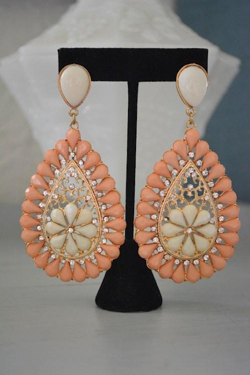 Peach Teardrop Earrings, Peach Earrings, Peach and Gold Jewelry