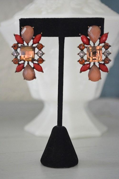 Brown Earrings, Fall, Topaz Earrings, Red Earrings