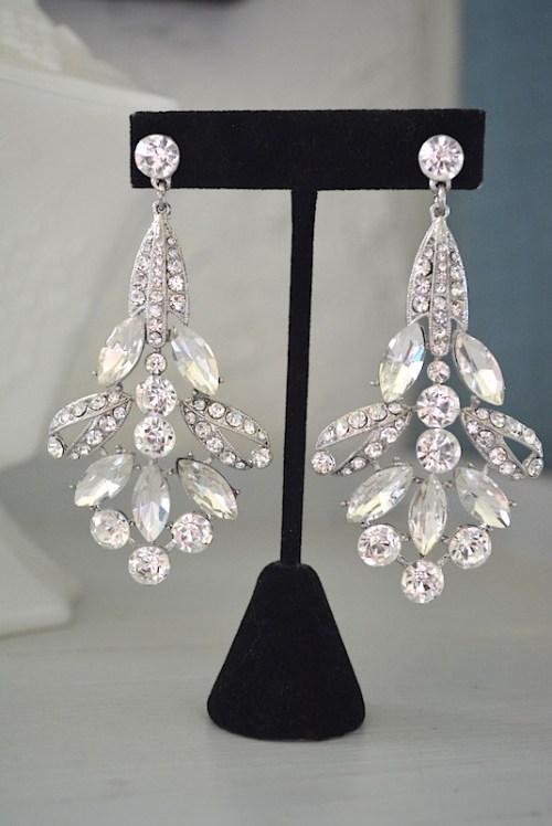 Statement Earrings, Glamorous Earrings, Rhinestone Earrings