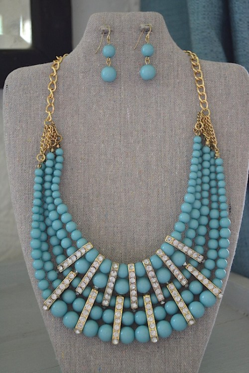 Robin's Egg Blue Necklace Set, Necklace and Earrings, Blue Jewelry, Turquoise Jewelry