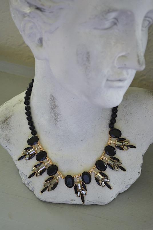 Black Pendant Necklace, Black Necklace