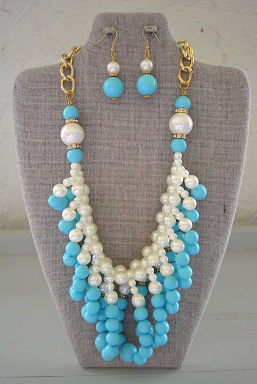 Loop Necklace Set, Blue and White Jewelry, Necklace and Earring Set