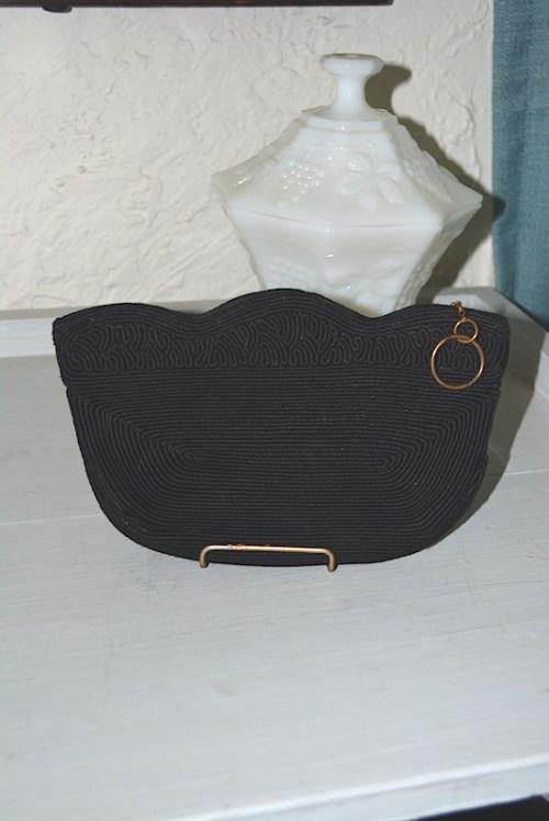 Black Corded Purse, Vintage Purse, Black Purse, Black Clutch, Vintage Clutch