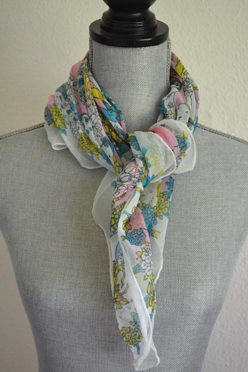 Pink Print Scarf, Japanese Scarf, Vintage Scarf, Silken Sheen Scarf