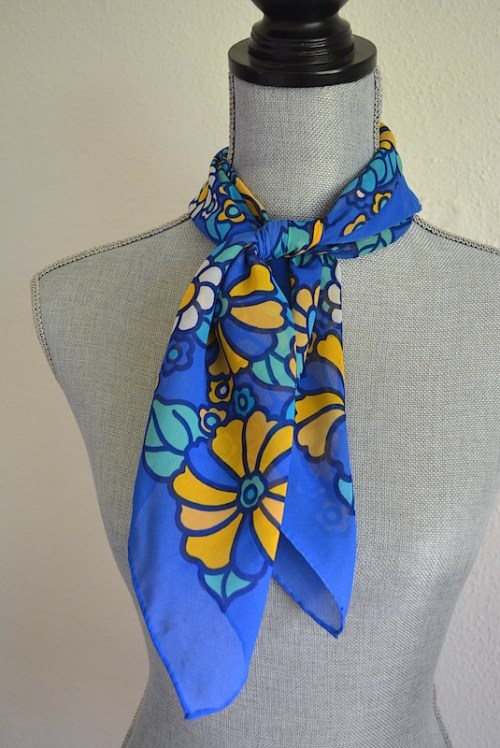Yellow Flower Scarf, Blue Print Scarf, Vintage Scarf, Yellow and Blue Scarf