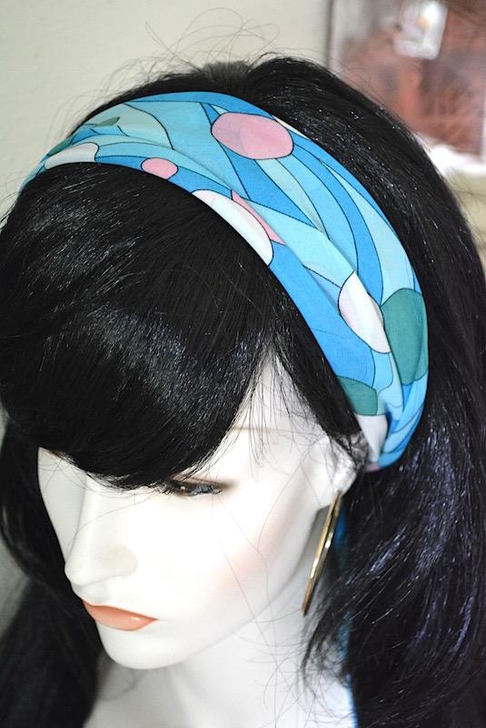 Blue Print Scarf, Blue Print Headband, Turquoise Scarf