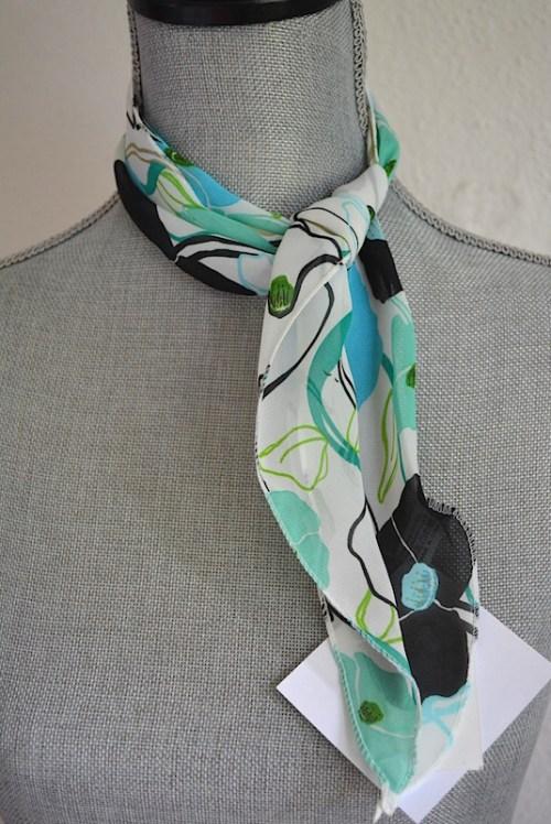 White Flower Print Scarf, Flower Scarf, Black Flower Scarf, Flower Headband