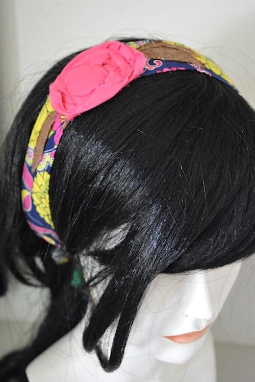 Pink Flower Headband, Bright Pink Headband, Fabric Flower Headband