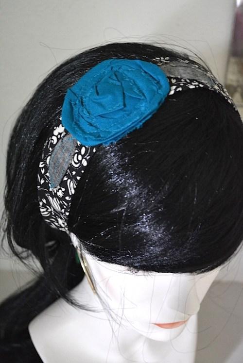 Black and White Flower Headband, Fabric Flower Headband, Teal Flower Headband