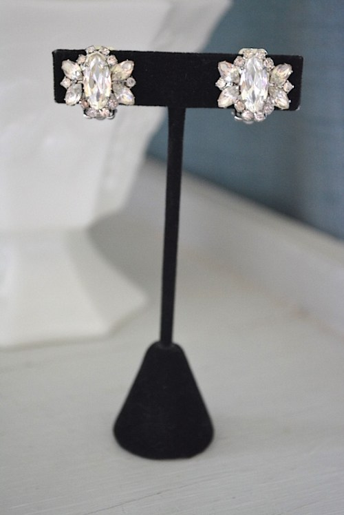 Small Rhinestone Earrings, Vintage Earrings