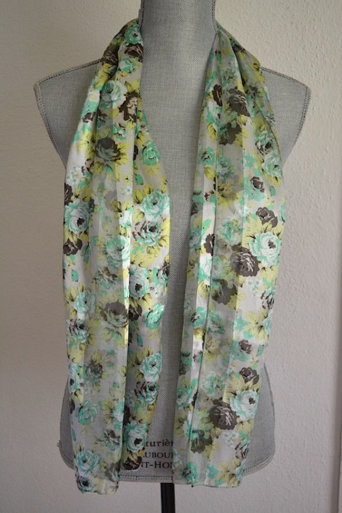 Green Rose Scarf, Rose Scarf, Flower Scarf