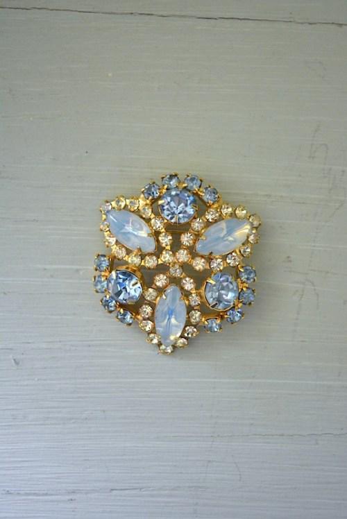 Aquamarine Brooch, Vintage Brooch, Vintage Pin, Vintage Jewelry, Aquamarine, Moonstone