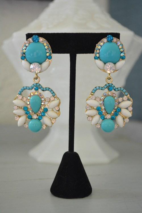 Turquoise and White Earrings, Zsa Zsa Gabor, Turquoise Earrings