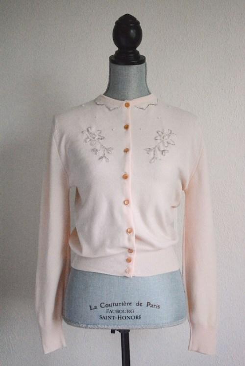 Pink Cardigan, Vintage Clothes, Vintage Sweater, Vintage Cardigan, Peach Cardigan, Beaded Cardigan, Blush Cardigan, Retro Clothes, Empire, Emp-Lon by Empire, Emp-Lon