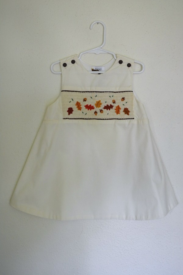 Cream Leaves Smocked Dress, Leaves Dress, Fall Smocked Clothes, Fall Dress