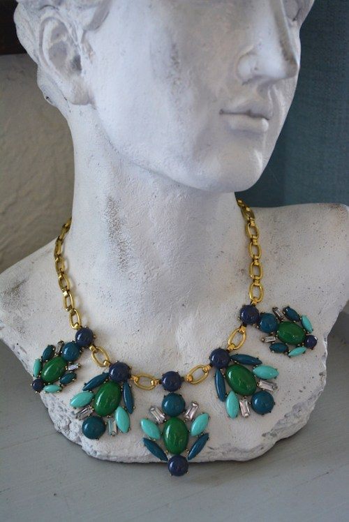 Blue and Green Necklace, Navy Necklace, Green Necklace
