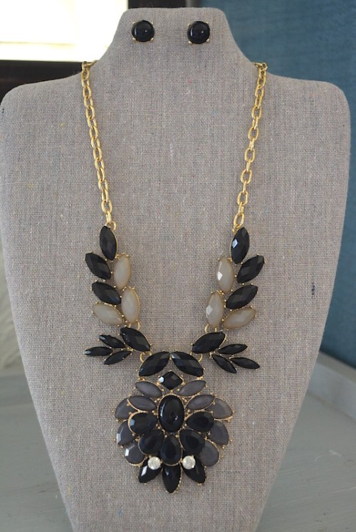 Black Medallion Necklace Set, Black Jewelry, Necklace and Earrings, Black Necklace and Earrings, Grey Jewelry
