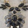 Black Medallion Necklace Set, Black Jewelry, Necklace and Earrings, Black Necklace and Earrings, Grey Jewelry