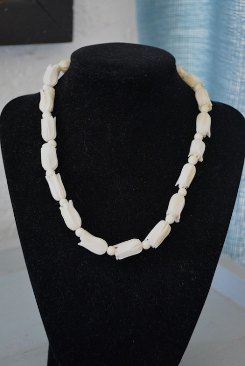 Carved Ivory Necklace, Bone Necklace, Ivory Necklace, Faux Ivory Necklace
