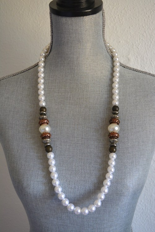 Copper and Pewter Pearl Necklace,Pearl Necklace, Metals Necklace