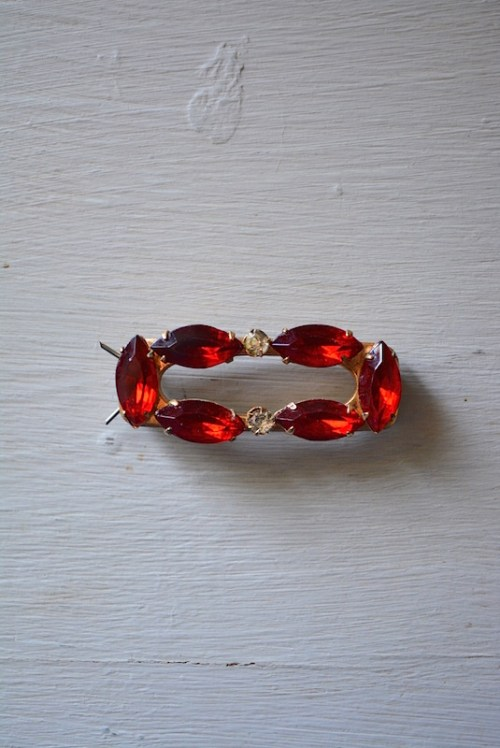 Ruby Barrette, Red Barrette, Red Hair Pin, Ruby Hair Pin, Vintage Barrette
