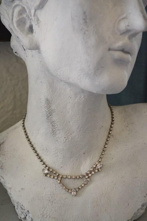 Scalloped Rhinestone Necklace,Vintage Necklace,Rhinestone Necklace,Vintage Rhinestone Necklace, Vintage Jewelry, Bridal Necklace, Bridal Jewelry