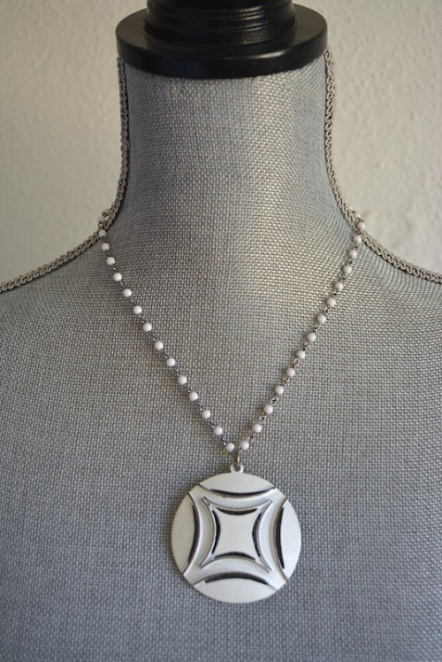 White Medallion Necklace, Silver and White Necklace, Medallion Necklace