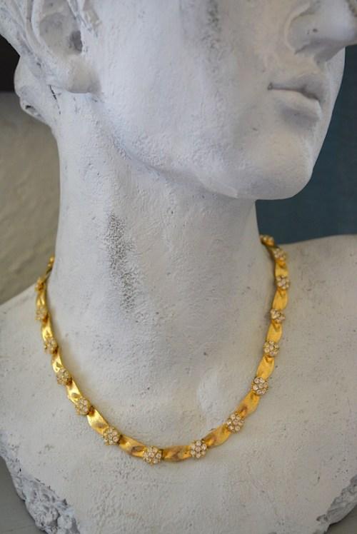 Rhinestone Flowers Necklace,Vintage Gold Necklace,Vintage Necklace