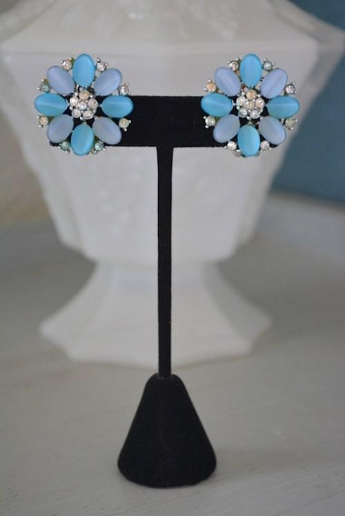 Blue Moonstone Earrings,Blue Earrings, Lisner Earrings,Lisner,Lisner Jewelry,Vintage Lisner,Bridal Jewelry, Vintage Blue Earrings