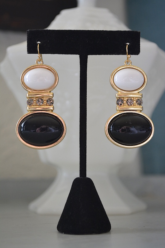 Black and White Earrings, White and Black Earrings, Black and White Jewelry, 1980's Inspired Jewelry