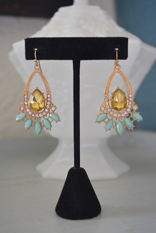 Mint and Topaz Earrings, Gold and Mint Teardrop Earrings, Gold Teardrop Earrings, Mint Teardrop Earrings