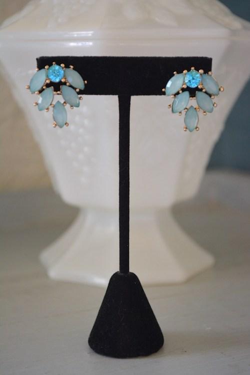 Mint Fan Earrings, Mint Earrings,Fan Earrings, Fan Shaped Earrings, Green Earrings,Blue Earrings, Turquoise Earrings