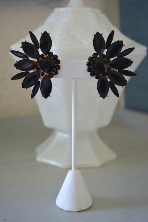 Black Fan Earrings,Black Earrings,Neutral Earrings,Black Jewelry,Clip Earrings, Black Clip Earrings