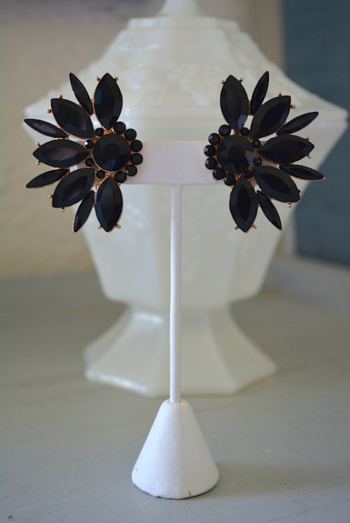 Black Fan Earrings,Black Earrings,Neutral Earrings,Black Jewelry,Clip Earrings, Black Clip Earrings