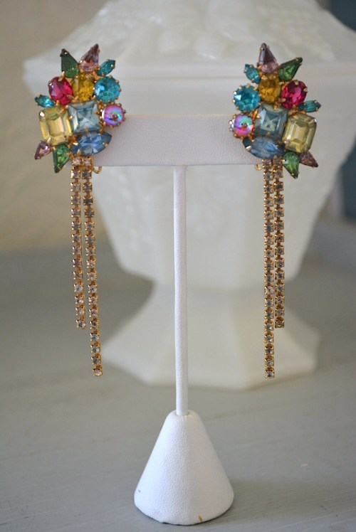 Multicolored Rhinestone Earrings,Rhinestone Earrings,Vintage Rhinestone Earrings, Bright Rhinestone Earrings,Fringe Earrings,Rhinestone Fringe Earrings