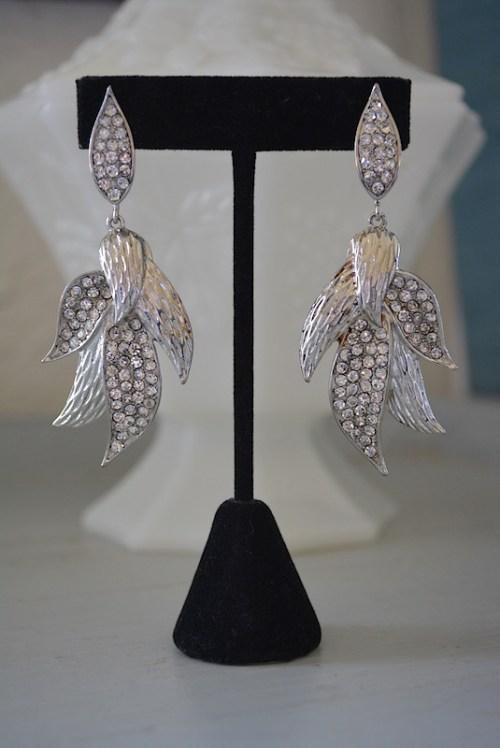 Silver Lily Earrings, Lily Earrings,Flower Earrings,Petals Earrings, Silver and Rhinestone Earrings,Rhinestone Earrings
