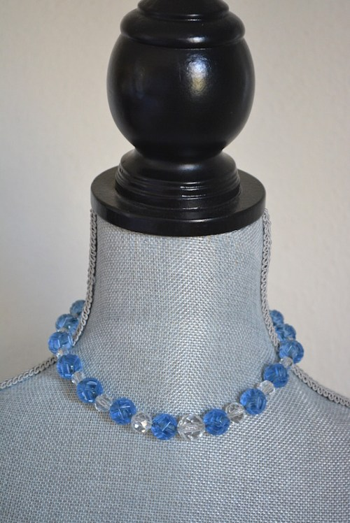 Clear Blue Necklace,Blue Necklace,Blue Crystal Necklace, Blue and Clear Necklace