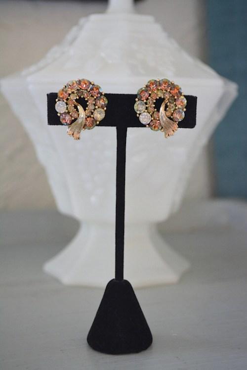 Topaz Wreath Earrings,Lisner,Lisner Earrings,Vintage Lisner,Signed Costume Jewelry,Topaz Earrings, Vintage Topaz Earrings