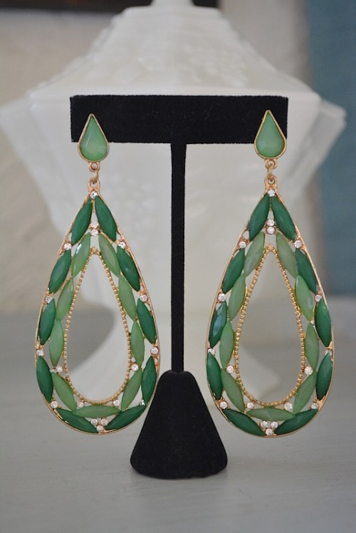 Green Teardrops Earrings,Green Teardrop Earrings, Green Statement Earrings, Big Green Earrings, Green Earrings,Green Jewelry